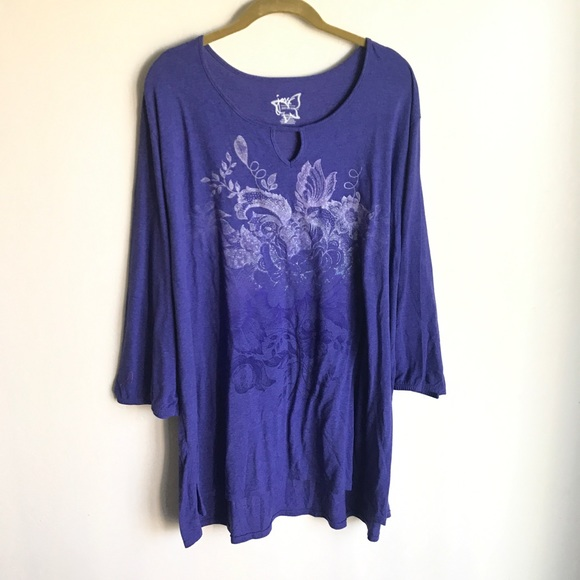 Just My Size Tops - Blue T-shirt Butterfly Embossed Design Size 5X